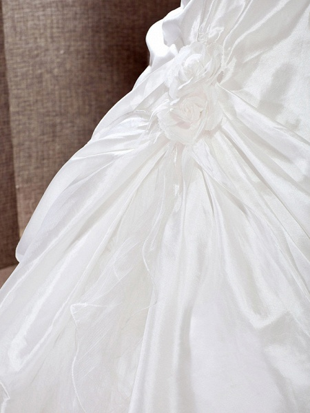 Princess A-Line Wedding Dresses One Shoulder Cathedral Train Taffeta Sleeveless_7