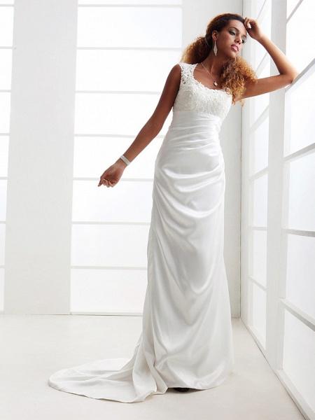 Sheath \ Column Wedding Dresses Scoop Neck Sweep \ Brush Train Charmeuse Beaded Lace Cap Sleeve Simple Backless_4