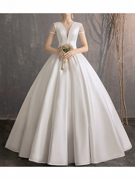 Ball Gown Wedding Dresses Jewel Neck Floor Length Satin Tulle Short Sleeve Simple Plus Size Elegant_1