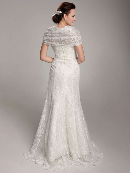 Mermaid \ Trumpet Wedding Dresses Straps Floor Length Lace Short Sleeve See-Through_2