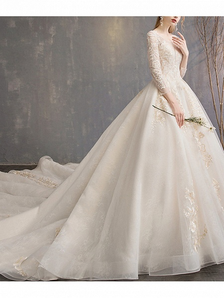 A-Line Wedding Dresses Jewel Neck Court Train Lace 3\4 Length Sleeve Glamorous Backless_2