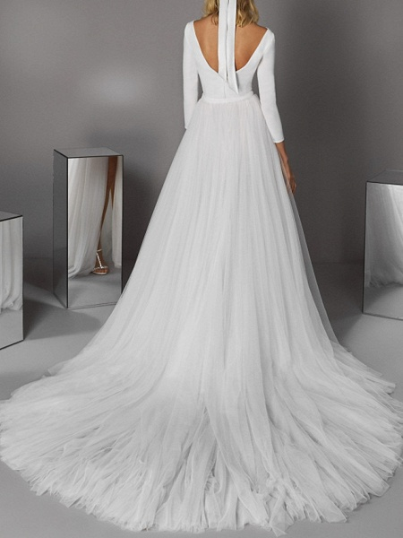 A-Line Wedding Dresses Jewel Neck Court Train Satin Tulle 3\4 Length Sleeve Casual Modern_2