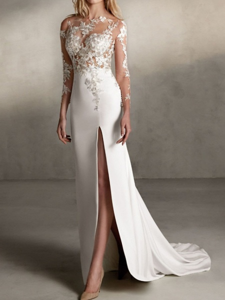 Mermaid \ Trumpet Wedding Dresses Jewel Neck Sweep \ Brush Train Lace Tulle Stretch Satin Long Sleeve Sexy See-Through_1