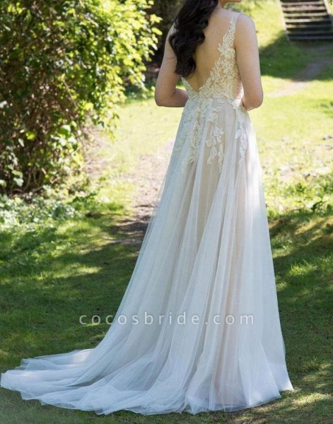 Chic V-neck Appliques Tulle A-line Wedding Dress_5