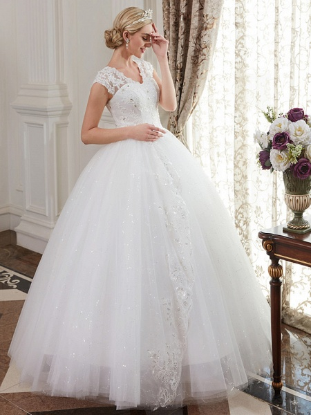 Ball Gown Wedding Dresses V Neck Floor Length Satin Lace Over Tulle Cap Sleeve Romantic Illusion Detail_6