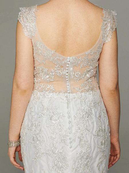 Mermaid \ Trumpet Wedding Dresses V Neck Court Train Lace Sleeveless Open Back See-Through_9