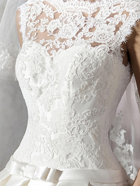 A-Line Jewel Neck Chapel Train Lace Tulle Polyester Cap Sleeve Plus Size Wedding Dresses_5