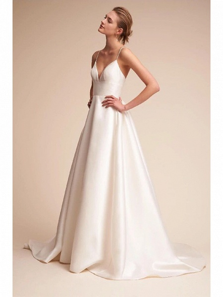 A-Line Wedding Dresses V Neck Court Train Satin Spaghetti Strap Little White Dress Open Back Sexy_3
