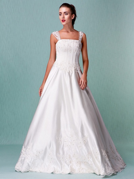 Lt14001 Simple Boho Ball Gown Wedding Dress_7