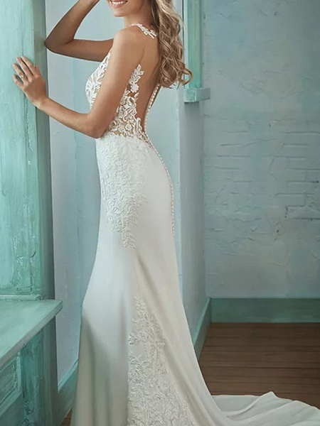 Mermaid \ Trumpet V Neck Sweep \ Brush Train Lace Polyester Sleeveless Casual Plus Size Wedding Dresses_2