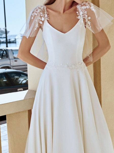 A-Line Wedding Dresses V Neck Sweep \ Brush Train Lace Stretch Satin Jersey Short Sleeve Country Plus Size Illusion Sleeve_3