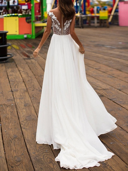 A-Line Wedding Dresses V Neck Sweep \ Brush Train Lace Satin Cap Sleeve Boho Plus Size_3