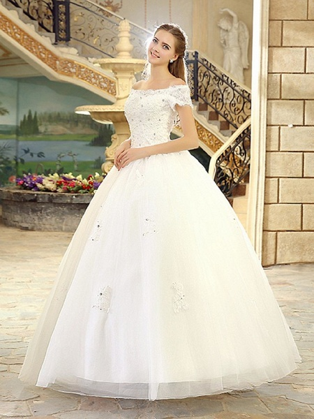 Ball Gown Wedding Dresses Off Shoulder Floor Length Lace Over Tulle Short Sleeve Casual Vintage Plus Size_4