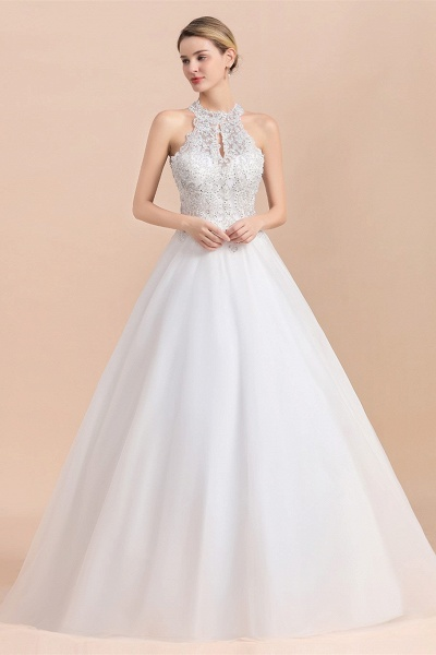 Halter Lace Appliques A-line Sequins Sleeveless Wedding Dress_6