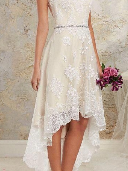A-Line Wedding Dresses Spaghetti Strap Asymmetrical Lace Tulle Sleeveless Country Plus Size_3