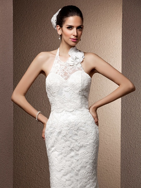 Mermaid \ Trumpet Wedding Dresses Halter Neck Sweep \ Brush Train Lace Regular Straps Open Back_6