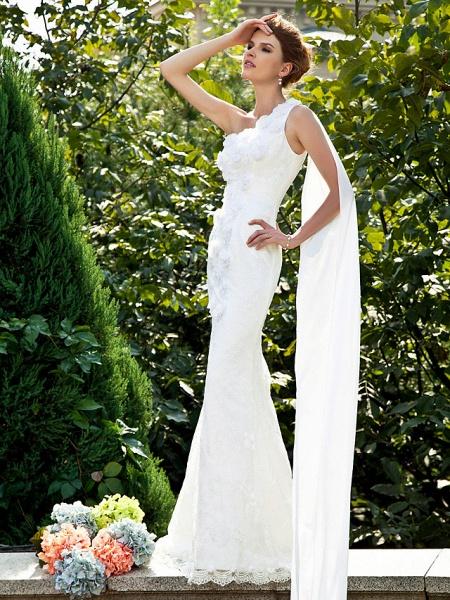 Mermaid \ Trumpet Wedding Dresses One Shoulder Sweep \ Brush Train Lace Sleeveless_3