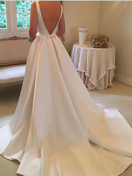 A-Line Wedding Dresses Jewel Neck Sweep \ Brush Train Stretch Satin Spaghetti Strap Simple Backless Elegant_3