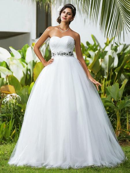 Ball Gown Wedding Dresses Sweetheart Neckline Floor Length Tulle Sleeveless Open Back_2