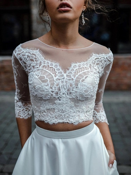 Two Piece A-Line Wedding Dresses Jewel Neck Asymmetrical Lace Satin 3\4 Length Sleeve Beach Boho Sexy See-Through_4