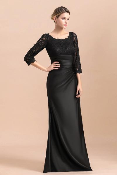 Elegant 3/4 Sleeves Black Satin Lace Ruffles Mother of Bride Dress_6