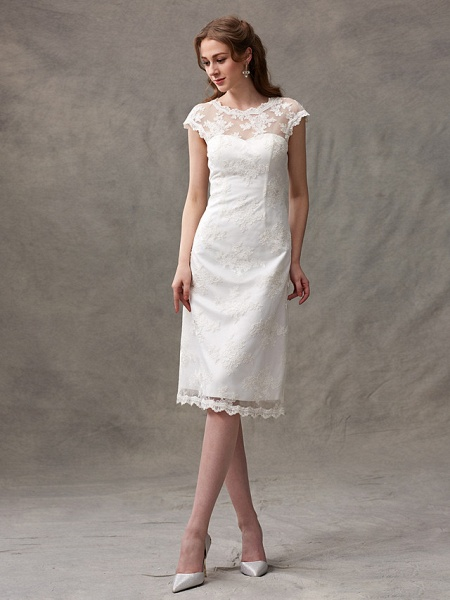 A-Line Wedding Dresses Jewel Neck Knee Length Floral Lace Cap Sleeve Casual See-Through Backless_4