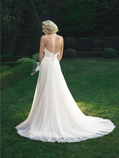 A-Line Wedding Dresses Sweetheart Neckline Court Train Polyester Strapless Beach Backless_4