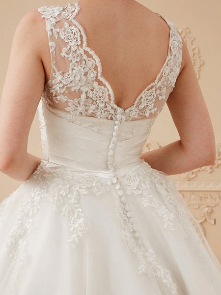 A-Line Wedding Dresses High Neck Ankle Length Lace Over Tulle Regular Straps Vintage Little White Dress Illusion Detail_16