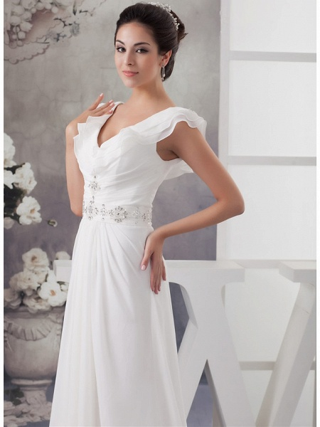 A-Line V Neck Court Train Chiffon Satin Spaghetti Strap Wedding Dresses_4