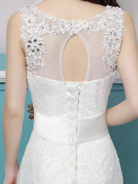 Mermaid \ Trumpet Wedding Dresses Scoop Neck Sweep \ Brush Train Lace Tulle Polyester Sleeveless Romantic Glamorous Sexy_6
