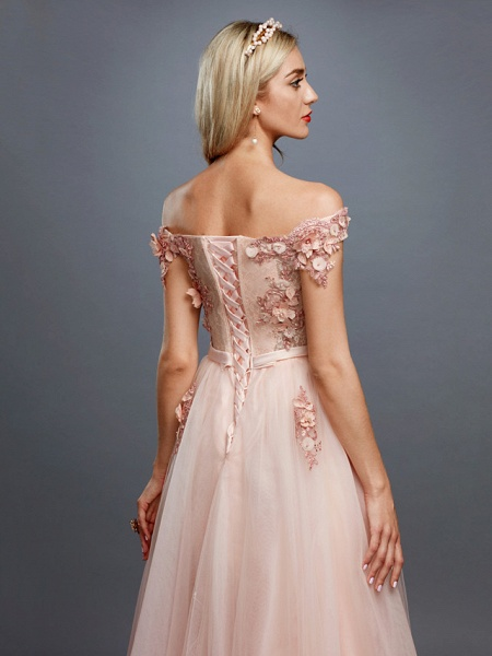 A-Line Floral Pink Prom Formal Evening Dress Off Shoulder Sleeveless Sweep \ Brush Train Tulle Over Lace_5