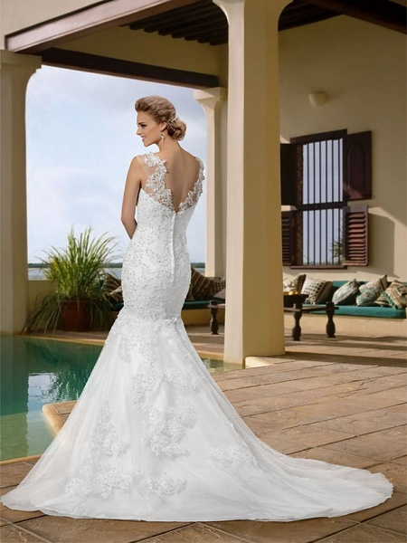 Mermaid \ Trumpet Wedding Dresses Scoop Neck Court Train Lace Regular Straps Country_3