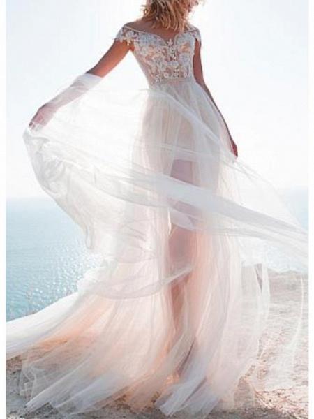 A-Line Wedding Dresses Jewel Neck Sweep \ Brush Train Lace Tulle Cap Sleeve_1