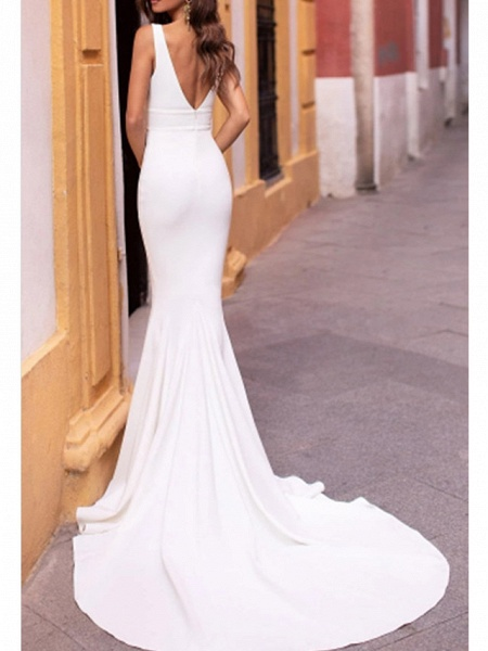 Mermaid \ Trumpet Wedding Dresses Plunging Neck Sweep \ Brush Train Stretch Satin Sleeveless Sexy Plus Size_3