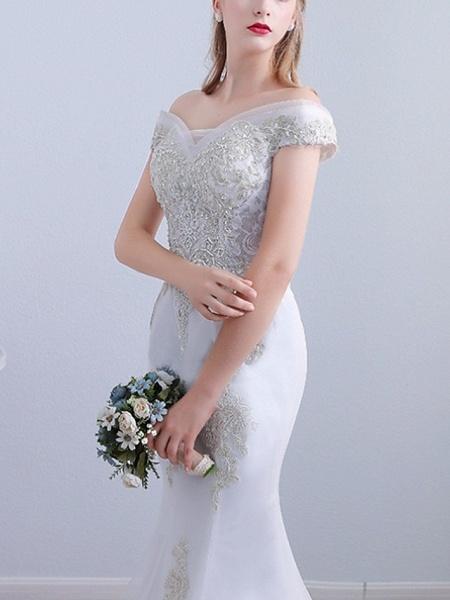 Mermaid \ Trumpet Wedding Dresses Off Shoulder Sweep \ Brush Train Tulle Short Sleeve Beach_3