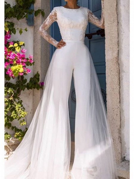 Jumpsuits Wedding Dresses Jewel Neck Court Train Lace Tulle Long Sleeve Modern Illusion Sleeve_1