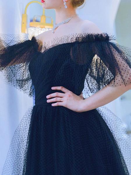 A-Line Wedding Dresses Off Shoulder Floor Length Tulle Short Sleeve Formal Black_2