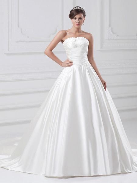 Ball Gown Wedding Dresses Strapless Court Train Satin Strapless Plus Size_1