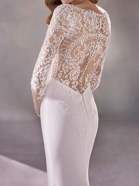 Mermaid \ Trumpet Wedding Dresses Plunging Neck Court Train Polyester Long Sleeve Country Illusion Sleeve_3