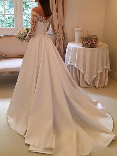 A-Line Wedding Dresses Off Shoulder Sweep \ Brush Train Satin Long Sleeve Illusion Sleeve_2