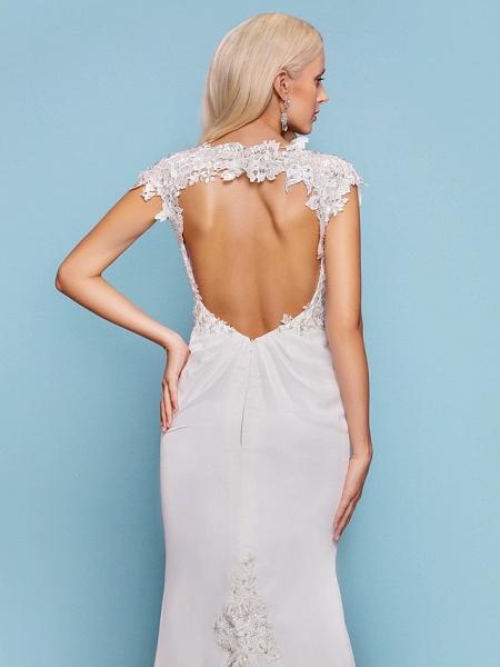 Mermaid \ Trumpet Wedding Dresses Jewel Neck Court Train Chiffon Short Sleeve Open Back_5