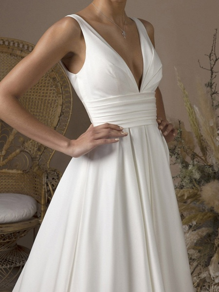 A-Line Wedding Dresses V Neck Sweep \ Brush Train Satin Sleeveless Formal_3
