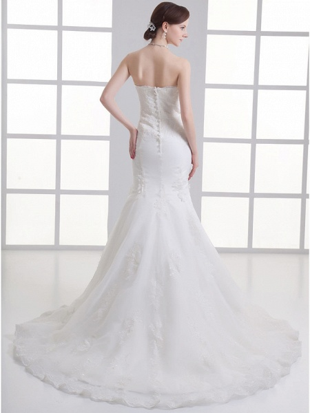 Mermaid \ Trumpet Strapless Chapel Train Satin Strapless Wedding Dresses_3