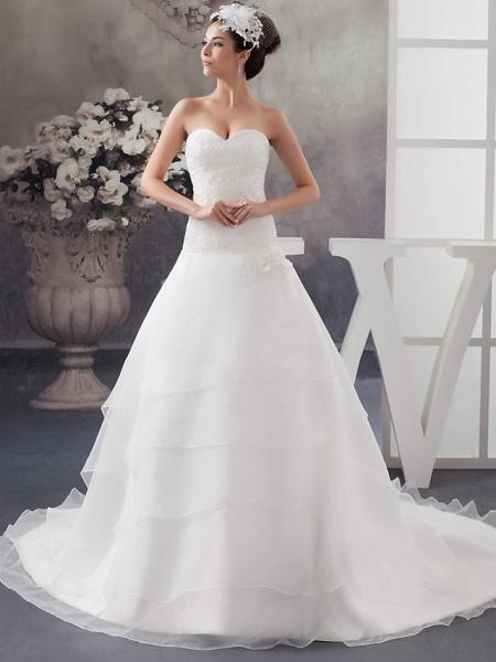 A-Line Sweetheart Neckline Chapel Train Organza Satin Strapless Wedding Dresses_1