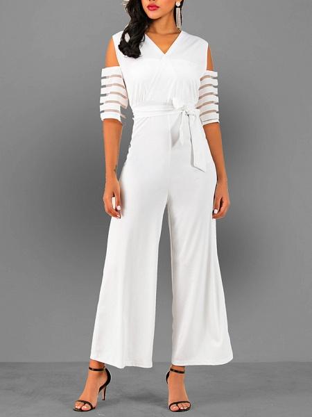 Women's V Neck Blue White Black Slim Jumpsuit_1