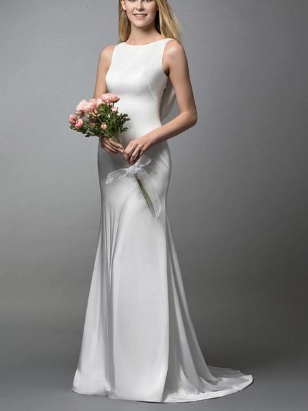 Mermaid \ Trumpet Wedding Dresses Jewel Neck Sweep \ Brush Train Spandex Lace Sleeveless Simple_1
