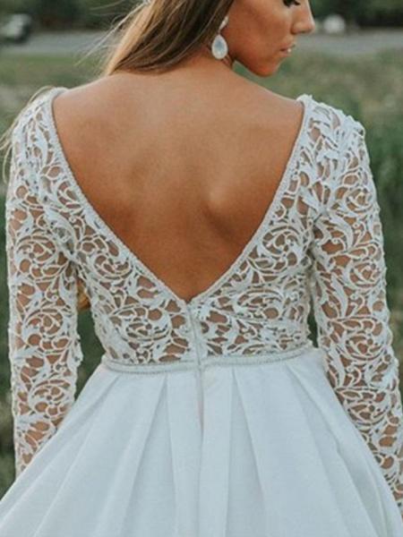 A-Line V Neck Court Train Chiffon Lace 3\4 Length Sleeve Beach Wedding Dresses_2