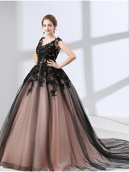 A-Line Wedding Dresses V Neck Chapel Train Lace Tulle Regular Straps Black_2