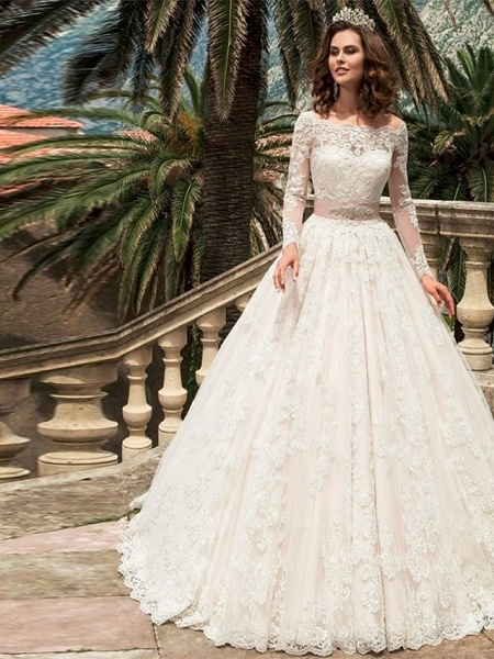 Ball Gown Wedding Dresses Off Shoulder Court Train Lace Long Sleeve Formal_1