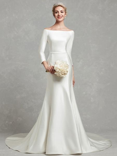 Mermaid \ Trumpet Wedding Dresses Bateau Neck Chapel Train Satin Long Sleeve Formal Little White Dress_1